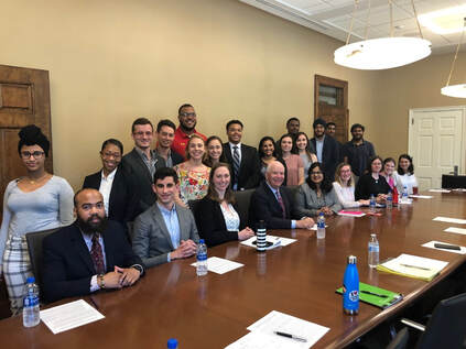 Aditi attends meeting between UMD students and Senator Ben Cardin to discuss higher education funding and policy.